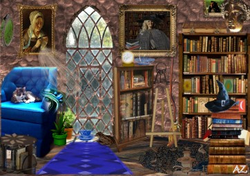Ravenclaw Quiet Corner - digital fantasy collage using Publisher, Harry Potter Fan Art by Antonia Sara Zenkevitch