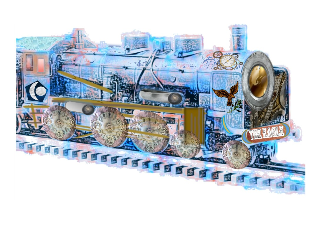 A fantastical blue and bronze engine, emblazoned with a lable 'The Eagle' matching an eagle on the engine's side, carrying olive branch. The wheels are clocks. A globe at the front of the engine glows.