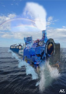 a fantastical blue train makes its way across the ocean. White steam comes out of the the engine from which a rainbow is formed.